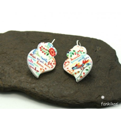 Viana heart earrings with Portuguese patterns
