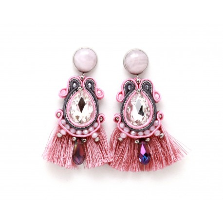 Soutache pink gray earrings