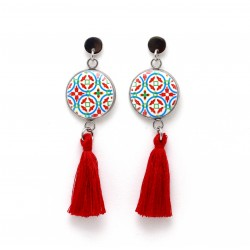 Red Tile Earrings with Crystal Pendant