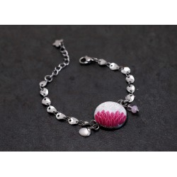 Pink flower bracelet with silver crackle