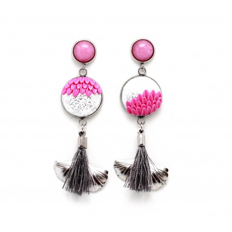Mismatched flower pink earrings