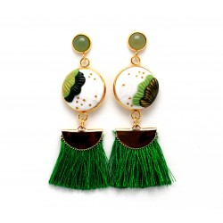 Green seashell earrings