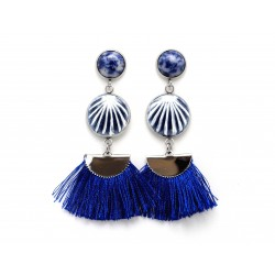 Blue seashell earrings
