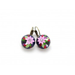 Colorful earrings with Pink flower
