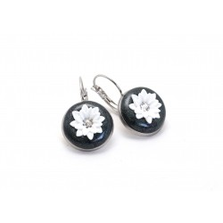 Dark green flower earrings