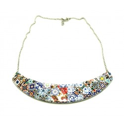 Portuguese statement tile necklace