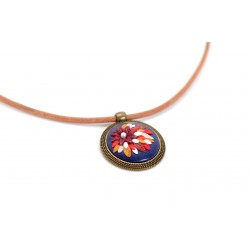 Leather necklace blue burgundy pendant