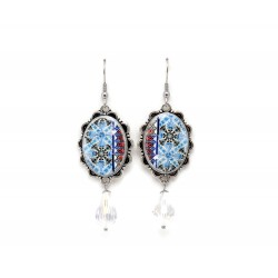 Oval blue tile earrings with crystal pendant
