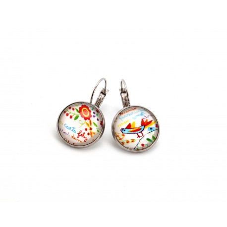 Circle earrings with valentine scarf pattern