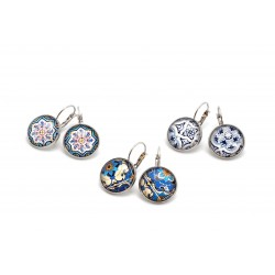 Circle earrings with tile blue pattern