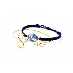 Set bracelets gold and blue tile