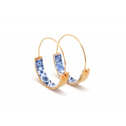 Gold hoops, portuguese tile earrings