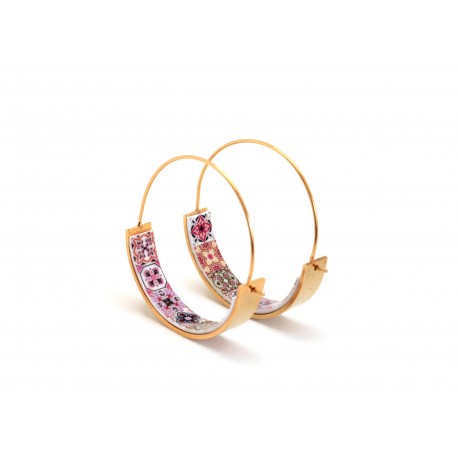 Gold hoops, portuguese pink tile earrings