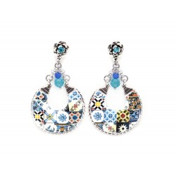 Chandelier colorful tile earrings
